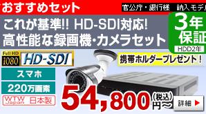 これが基準!!HD-SDI対応!!高性能の録画機とカメラのセット【225万画素】