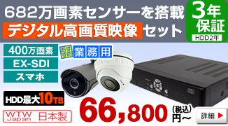 FullHDを超える超高画質! 400万画素EX-SDIカメラ・録画機のセット
