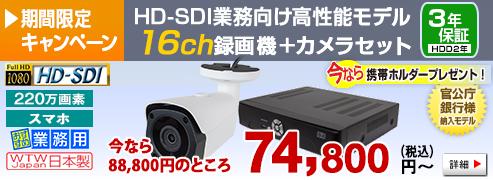 官公庁・銀行様納入実績のある220万画素HD-SDIカメラ・録画機のセット