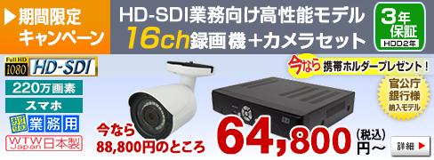 官公庁・銀行様納入実績のある220万画素HD-SDIカメラ・録画機の 8CHセット
