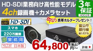 官公庁・銀行様納入実績のある220万画素HD-SDIカメラ・録画機の 4CHセット