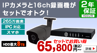 自社開発製造の日本製 136万画素 IPカメラと NVRのフルセット【225万画素】