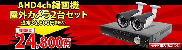 AHD 100万画素 屋外防犯カメラ二台と録画機のセット カンタン操作 今すぐ使える!