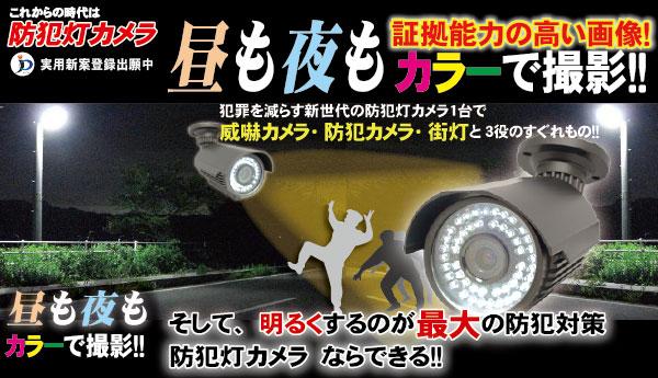 夜間もカラー監視 防犯灯カメラ 街灯の役割もする防犯灯カメラ。