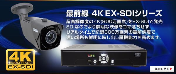4K EX-SDI(800万画素 SDIカメラ)の業務用防犯カメラ