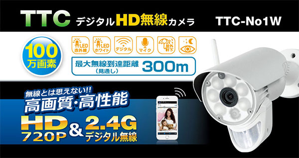 初心者にお勧め 300mタイプ 100万画素無線防犯灯カメラ&無線モーションセンサーカメラ